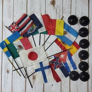 Lot of 12 International Flags with Stands